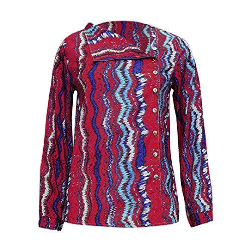 Shirt Manches Tops T Automne Mode Chic T Femme Rouge Shirt Imprimer Longues Femmes Collar Turndown Blouse Chemisier Rouge 5zgxqwY66d