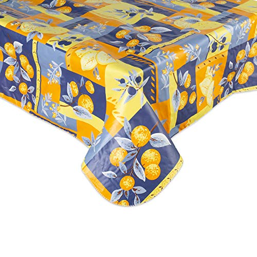 J&M Home Fashions Waterproof Spill Proof Vinyl Printed Tablecloth, 52x90, Season, Indoor, Outdoor Picnics & Potlucks Party Party or Everyday Use-Lemons (Barrel Vinyl And Crate)