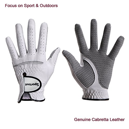 Men's Compression-Fit Stable-Grip Genuine Cabretta Leather Golf Glove, Super Soft, Flexible, Wear Resistant and Comfortable, White (S, Right Hand) Left Handed Golf Grips