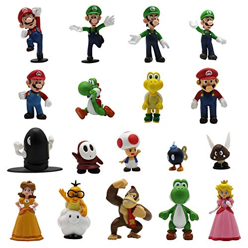 Maggift 18 Pcs PVC Super Mario Brothers Figures Set Children's Toy -