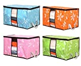 San Tokra 4Pcs Foldable Home Quilt Pillow Blanket Clothing Storage Bag Flower Printed Container Box