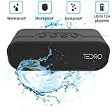 TEDRO NX-4017F Waterproof Bluetooth Portable True Stereo L/R Speaker and Power Bank 4400mAh, 20 Watts Bass Sound with FM Radio, Micro SD Card, AUX – Black, Gift Box