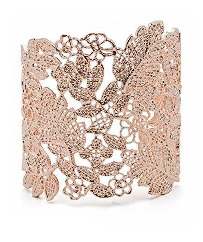 Filigree Vintage Adjustable Lace Wide Cuff Bracelets Bangles for Women Silver, Rose Gold, Gold or Black (Rose Gold) Adjustable Wide Bangle Bracelet