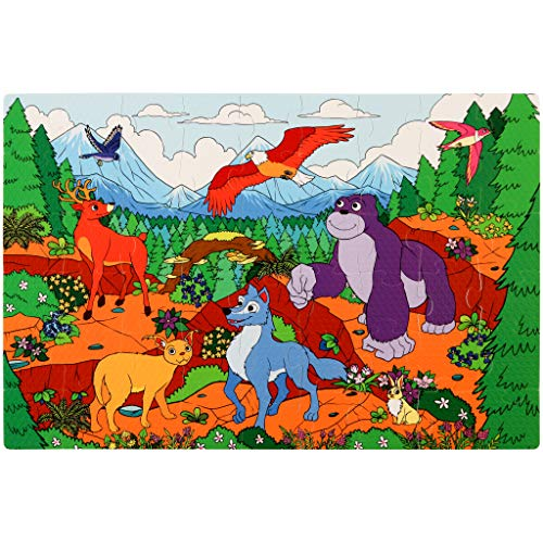 Enormous Mountains Foam Floor Puzzle - 54 Soft Pieces - 12x18 Inches Mat - Educational Toy for Preschoolers