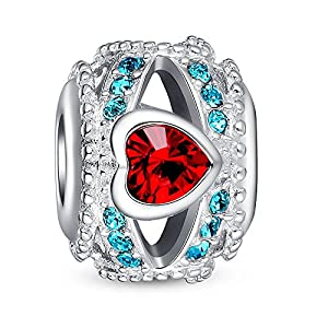 Glamulet Red Swarovski Heart Blue Crystal Openwork Charms Fits For European Style Bracelets by Glamulet
