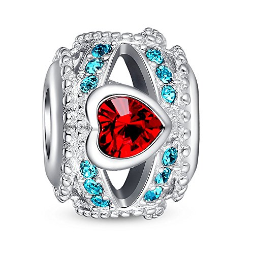 Glamulet 925 Sterling Silver Openwork Charm Bead Fits Bracelet Red Heart Blue Crystal Ideal Jewelry Gifts for Lover Women Mom Wife Girls
