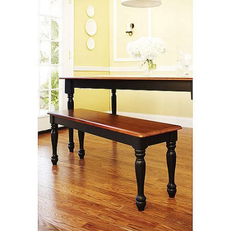 Autumn Lane Farmhouse Bench, Black and Oak Mix of stained oak and painted black finishes Turned wood legs and back with Solid wood seat Product Dimensions (L x W x H): 48.00 x 14.00 x 18.00 Inches (Couch Bench Dining)