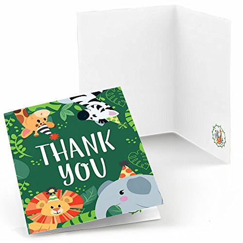 - Big Dot of Happiness Jungle Party Animals - Safari Zoo Animal Birthday Party or Baby Shower Thank You Cards (8 Count)