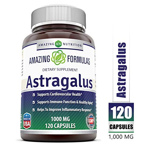Amazing Formulas Astragalus All Natural Dietary Supplement - 1000 mg Capsule Capsules Made from Pure Astragalus Membranaceus Plant Root Extract - Made in The USA - 120 Capsules Per Bottle