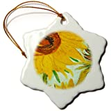 orn_100929_1 Florene Famous Art - Picture Of Van Goghs Heavily Textured Painting Sunflower - Ornaments - 3 inch Snowflake Porcelain Ornament