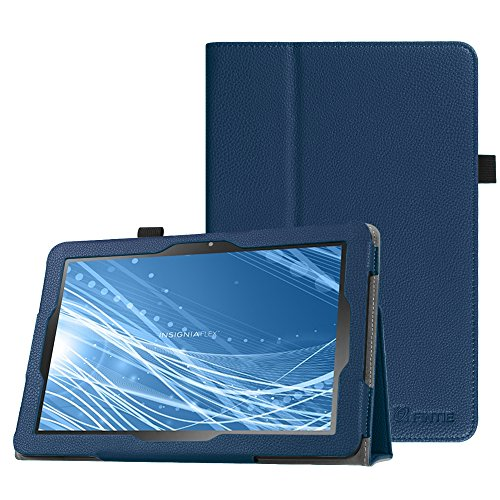 Fintie Case for Insignia Flex 10.1 Inch Tablet NS-P10A7100 / NS-P10A8100, Slim Fit Premium Vegan Leather Folio Cover with Stylus Holder, Navy