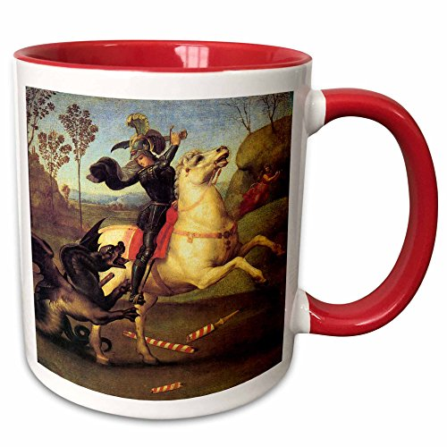 3dRose (mug_130174_5) St. George and the Dragon by Raphael - Two Tone Red Mug, - George Outlets St