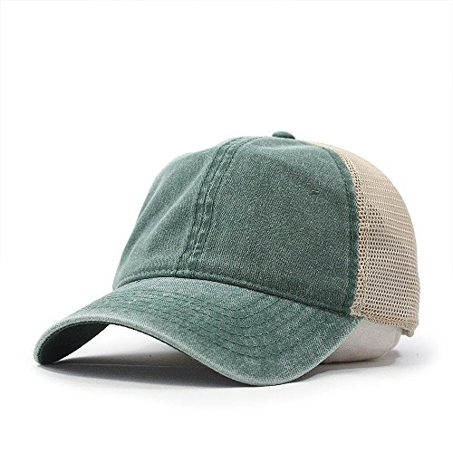 Vintage Washed Cotton Soft Mesh Adjustable Baseball Cap (Dk Green/Dk Green/Khaki)