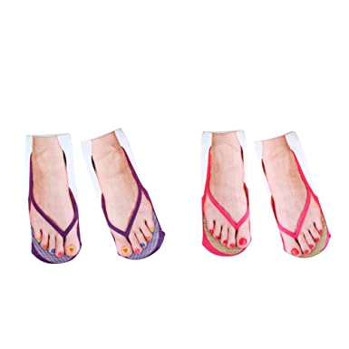 1ac686b338203 Amazon.com  UmayBeauty Girls Women Ankle Sock 3D Printed Flip Flops Pattern  Printed Low Cut Cotton Socks  Clothing