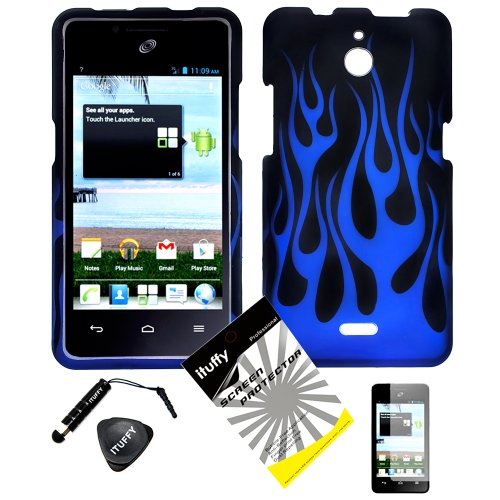 4 items Combo: ITUFFY LCD Screen Protector Film + Mini Stylus Pen + Case Opener + Black Blue Flame Design Rubberized Snap on Hard Shell Cover Faceplate Skin Phone Case for Huawei VALIANT Y301 / Straight Talk Huawei Ascend Plus H881C ()