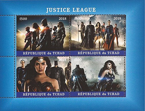 USPS Chad - 2018 Justice League Superheroes - 4 Stamp Sheet - (Super Heroes Stamp Sheet)