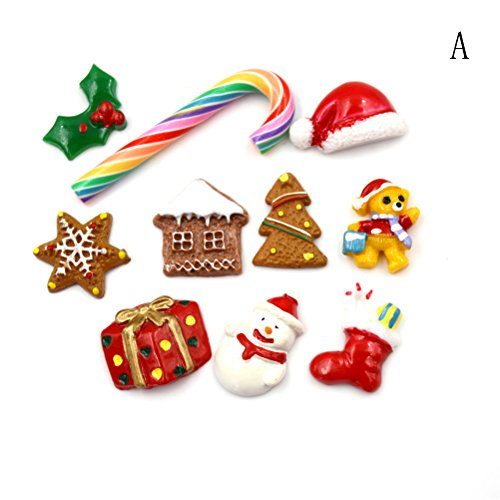 20Pcs Resin Flatback Christmas Tree Shoes Snowman Gift Dessert Cabochon Lucky Bag Dollhouse Food Charm Art Album Flat Back Phone Scrapbooking Hair Clip Hairpin Sewing DIY Craft Accessory Jewelry Decor