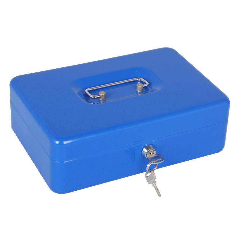 TOPBATHY キーキャッシュボックス レジボックス メタルマネーボックス 金庫 レジスター コイントレイ付き ブルー B07PW8389V