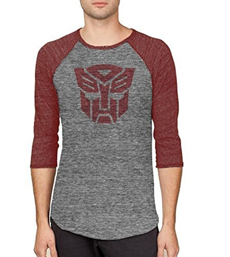 Transformers Autobots Logo Adult Arctic Gray and Rustic Red Baseball Raglan T-shirt (Adult Large)