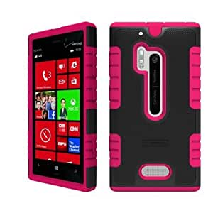 Cerhinu Beyond Cell Duo-Shield Hard Shell & Silicone Skin Case for Nokia Lumia N928 - Black/Hot Pink