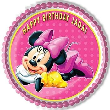 Amazoncom Minnie Mouse Edible Cake Topper 75 Round Kitchen