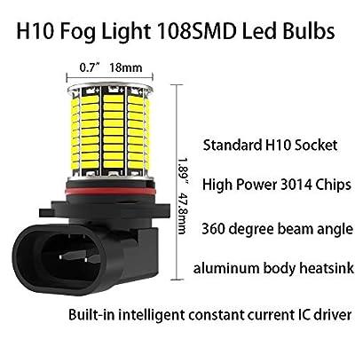 CATO-WDJ H10 9145 LED Fog Light Bulbs, bright 6000k 2000LM White light 108smd 3014 chipset, 9145 9140 9045 9040 Led Bulbs Fog Light or DRL Lights for Cars Trucks, 1 Pair: Automotive