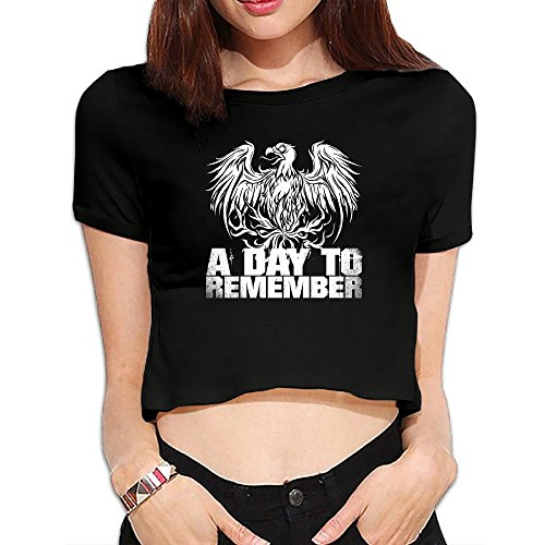 GG&MM A Day To Remember Band Eagle Badge Short Sleeve Crop TopBlack - Times Usps International Delivery