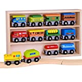 wooden train cars - Pidoko Kids Wooden Train Set - 12 Pcs Engines Cars - Compatible with Thomas Train Set Tracks and Major Brands - Perfect Toy for Boys and Girls
