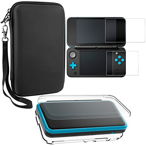 Protective Cases Compatible New 2DS XL with Screen Protectors, AFUNTA 1 Crystal Clear Case and 1 EVA Carrying Case for Console, with 2 Pcs Anti-Scratch Tempered Glass Films for Screens Carry Case Lcd Guard