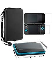 AFUNTA Skyddsfodral för Nintendo New 2DS XL med skärmskydd, 1 kristallklart fodral och 1 EVA bärväska för 2DSXL-konsol, med 2 st repfria härdade glasfilmer för skärmar