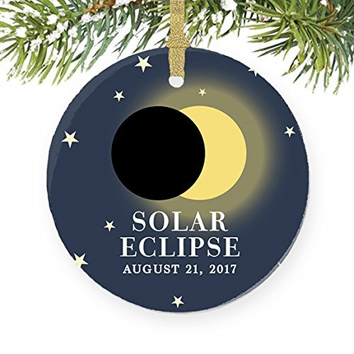 Christmas Gifts Ceramic Ornament Crafts Solar Eclipse August 21 North America Total Partial Sun Moon Xmas Ornament for Tree Decor August Moon Hanging