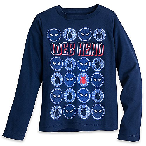 Marvel Spider-Man Long Sleeve T-Shirt for Boys Size S (5/6) Blue (Spiderman Button Shirt)