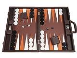 19-inch Premium Backgammon Set - Large Size - Dark Brown Board