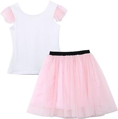 Conjunto de 2 Piezas de Camiseta Blanca y tutú Rosa a Juego para ...