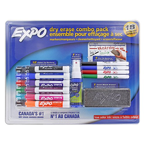 Expo Low Odor Dry Erase Marker Set, Chisel and Ultra Fine, Assorted Colors, 18-Piece Set