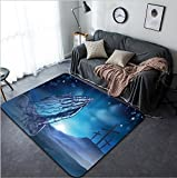 Vanfan Design Home Decorative 348621839 A Christian Easter illustration of three crosses on a hill and praying hands Modern Non-Slip Doormats Carpet for Living Dining Room Bedroom Hallway Office Easy
