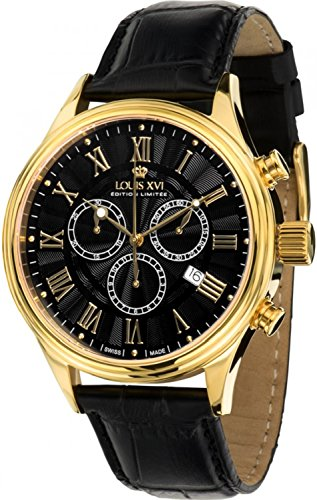- Louis XVI Men's-Watch Danton l'or Noir Swiss Made Chronograph Analog Quartz Leather Black 470