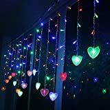 Multi-color 4M 96 LEDS 18P Hearts Love Shape LED String Curtain Light For Christmas Wedding Party Decoration Chandelier Luminarias (Colorful)