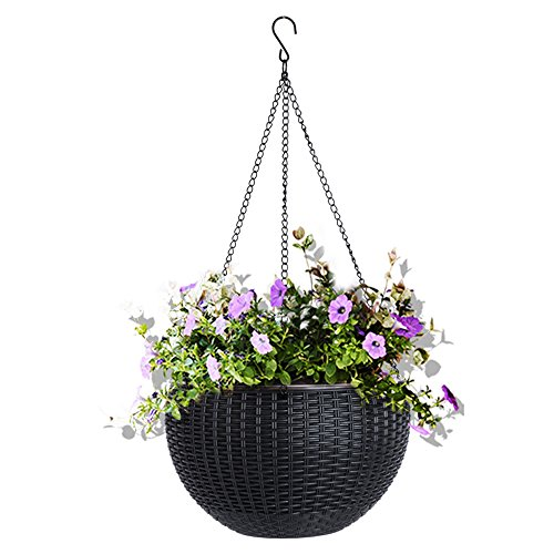 Vencer 11 Inch Round Resin Self Watering Hanging Basket,Water Indicator,Ceramsite,Modern Decorative Planter Pot for All House Plants,Black,VF-050B