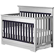 Dream On Me Chesapeake 5-In-1 Convertible Crib, Platinum and Navy