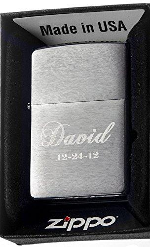 Groomsman Personalizied Zippo Brush Silver Pocket Lighter Free Engraving