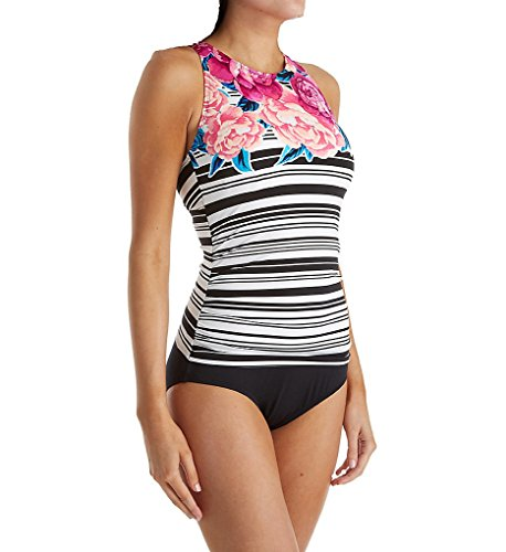 Jantzen Women's Floral Stripe High Neck One Piece Swimsuit, Black, 8 by Jantzen