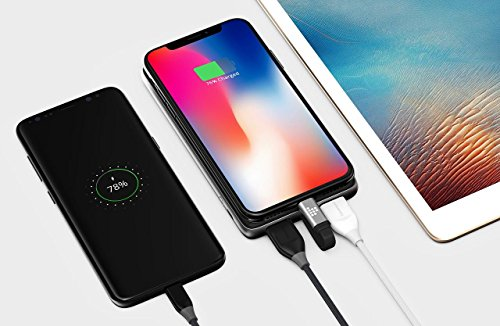 Tronsmart power Bank moveable Charger 10000 mAh Genuine Leather External Battery Pack together with crafted in Lightning Cable for iPhone iPad Samsung LG BlackBerry Google Pixel Nintendo Switch and a lot more Black travelling Chargers