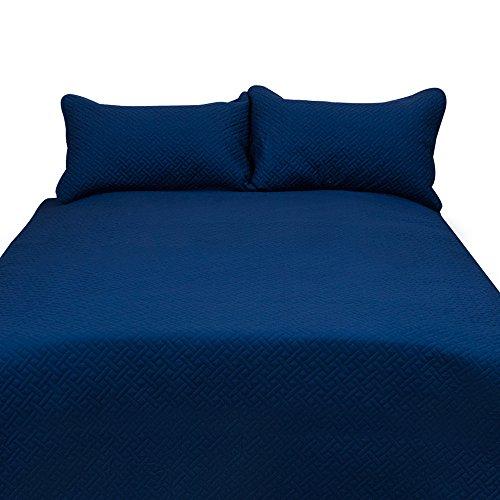HONEYMOON HOME FASHIONS Queen Quilt Set Solid Navy Blue, Microfiber Lightweight Soft All-Season, 3-Piece Luxury