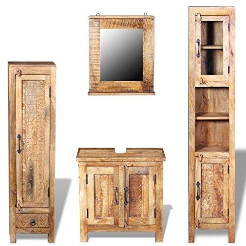 Festnight Bathroom Vanity Set Solid Mango Wood Cabinet with Mirror and 2 Retro Style Side Cabinets Set for Bathroom (Bathroom Furniture Sink Vanities Bedroom)