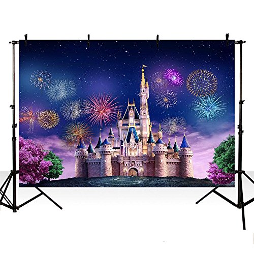MEHOFOTO Happy New Year Banner Photo Studio Booth Background Props Castle Fireworks Children Backdrops for Photography 7ftx5ft ()