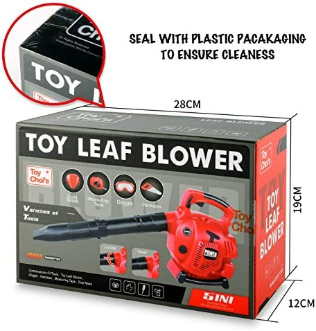 Toy Choi's Pretend Play Series Leaf Blower Toy Tool Play Set, Outside Construction Work Shop Toy Tool Kit Outdoor Preschool Gardening Lawn Toy Gift for Kids Toddler Baby Children Boys and Girls