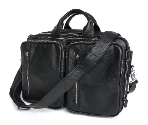 YAAGLE Echte Ledertasche aus Rindleder, Vintage handgemachte Herren Aktentasche, Rucksack Messenger, Laptop-Tasche, Dokumententasche 15