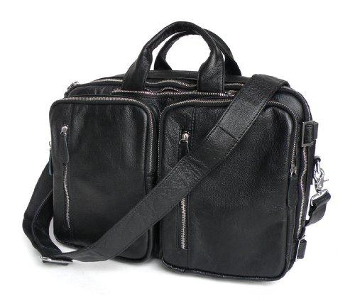 "YAAGLE Real Cow Vintage HANDMADE Leather Men's Briefcase Backpack Messenger Laptop Bag Handbag,15""L x 6""D x 10.5""H, black, dark coffee, light coffee,YA41 (Black)"
