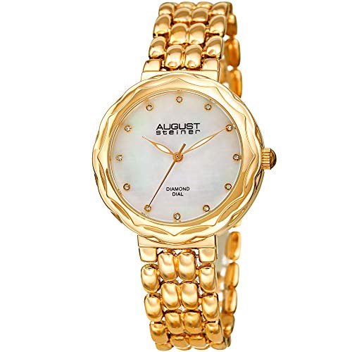 August Steiner Diamond Accented Women's Watch – Designer Gold Tone Stainless Steel Bracelet Band – Mother of Pearl and Diamonds Dial - ()